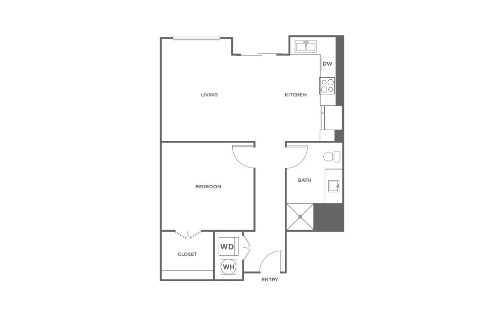 A1 - 1 bedroom floorplan layout with 1 bath and 674 square feet. (2D)
