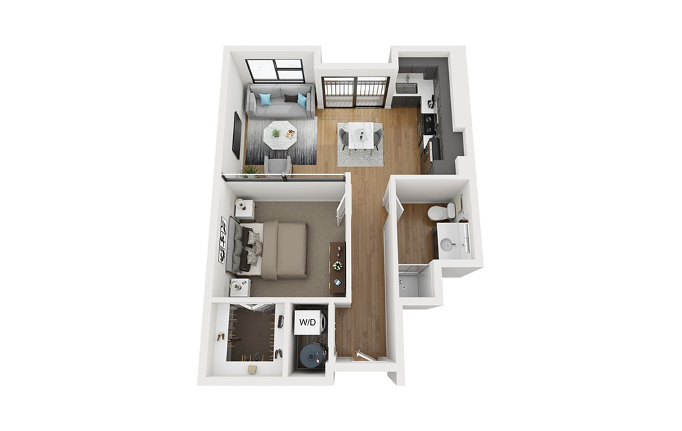 A1 - 1 bedroom floorplan layout with 1 bath and 674 square feet. (3D)