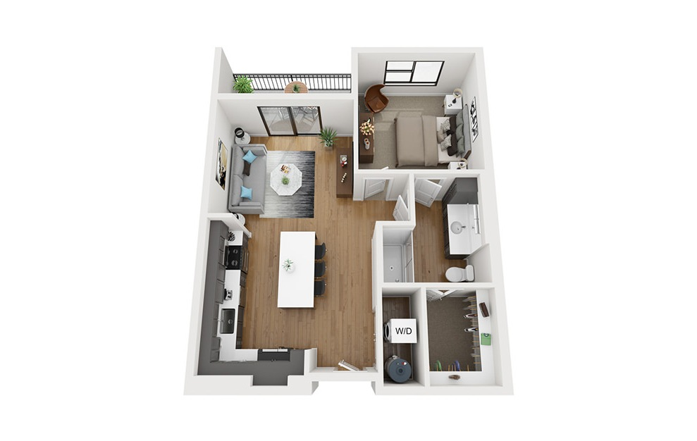 A2 - 1 bedroom floorplan layout with 1 bath and 743 square feet. (3D)