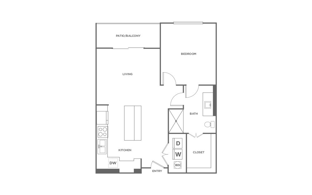 A2 - 1 bedroom floorplan layout with 1 bath and 743 square feet. (2D)