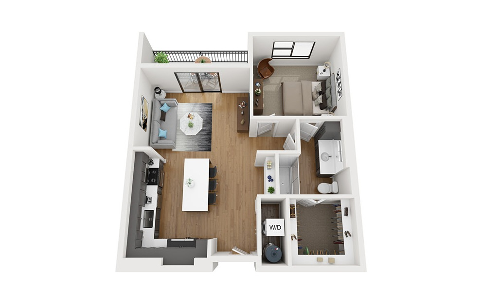 A3 - 1 bedroom floorplan layout with 1 bath and 829 square feet. (3D)