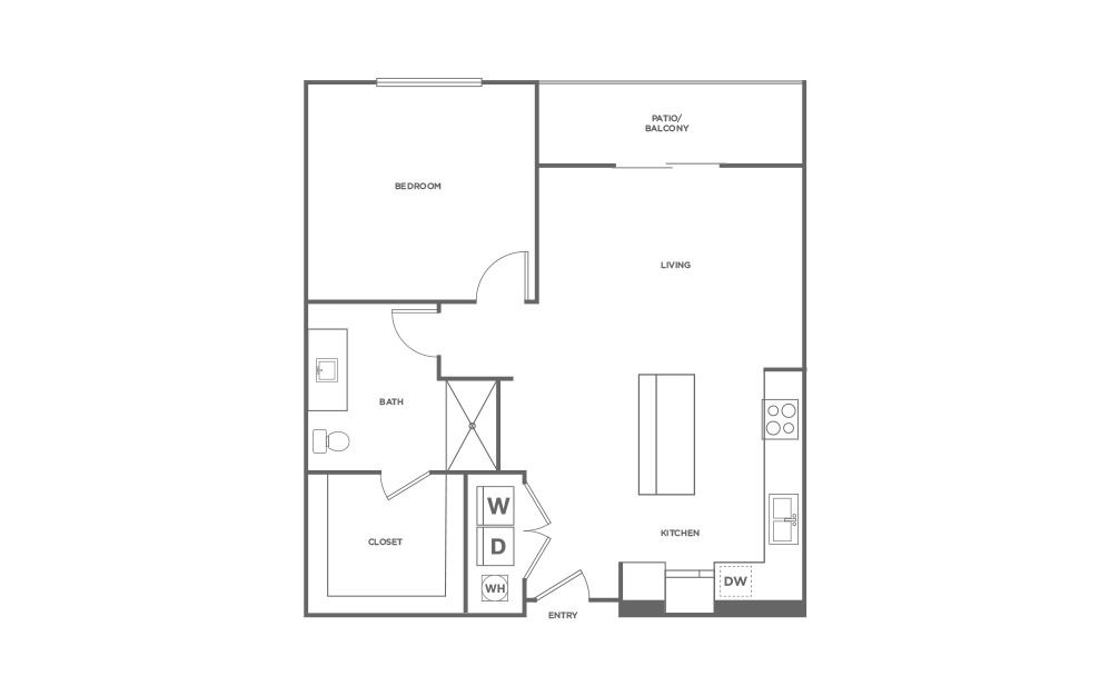 A3-HC - 1 bedroom floorplan layout with 1 bath and 829 square feet. (2D)