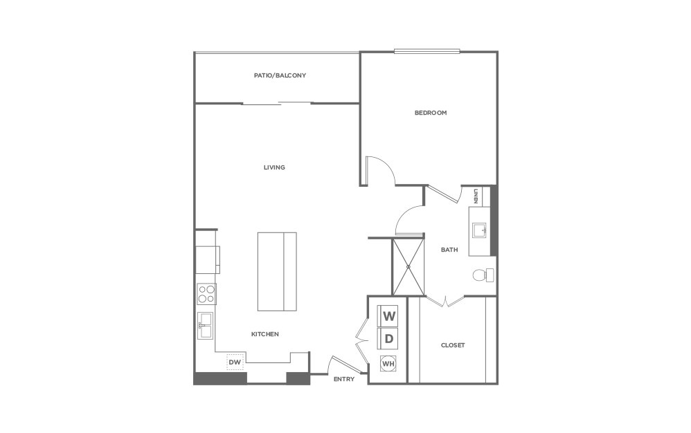 A3 - 1 bedroom floorplan layout with 1 bath and 829 square feet. (2D)