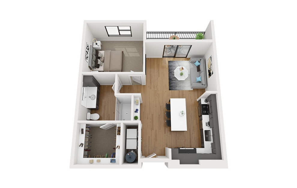 A3-HC - 1 bedroom floorplan layout with 1 bath and 829 square feet. (3D)
