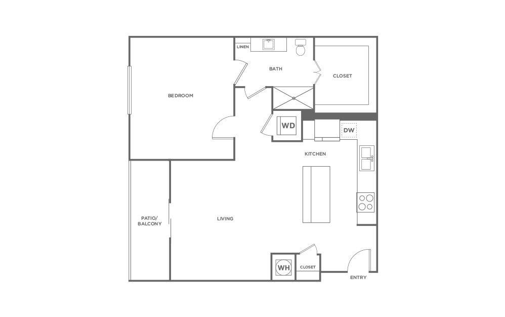 A4 - 1 bedroom floorplan layout with 1 bath and 935 square feet. (2D)