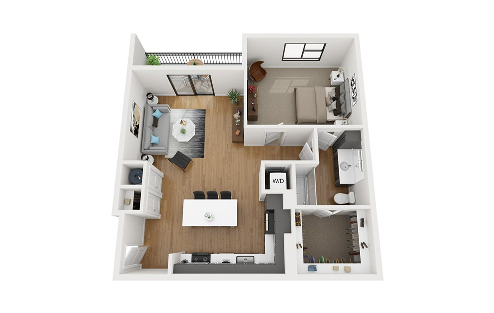 A4 - 1 bedroom floorplan layout with 1 bath and 935 square feet. (3D)