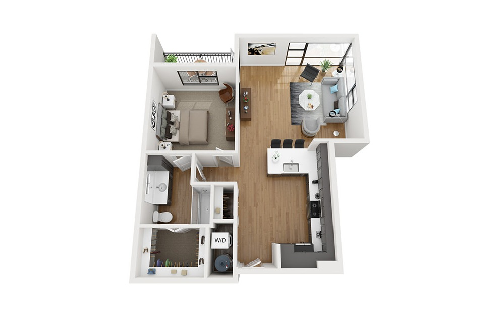 A5 - 1 bedroom floorplan layout with 1 bath and 968 square feet. (3D)
