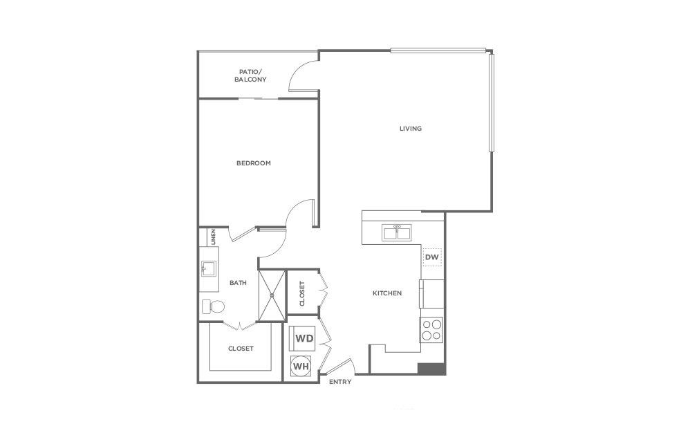 A5 - 1 bedroom floorplan layout with 1 bath and 968 square feet. (2D)