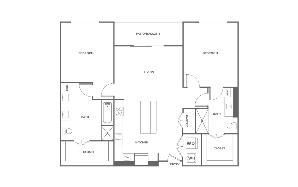 B1 - 2 bedroom floorplan layout with 2 baths and 1173 square feet. (2D)