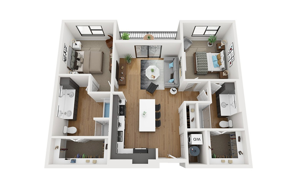 B1 - 2 bedroom floorplan layout with 2 baths and 1173 square feet. (3D)