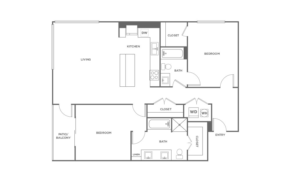 B2 - 2 bedroom floorplan layout with 2 baths and 1231 square feet. (2D)