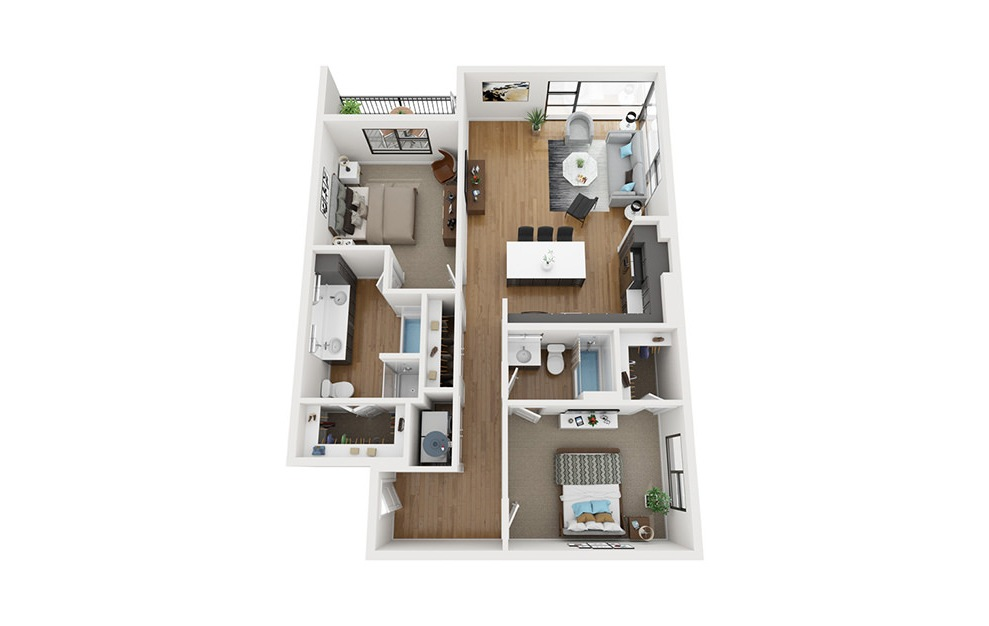 B2 - 2 bedroom floorplan layout with 2 baths and 1231 square feet. (3D)