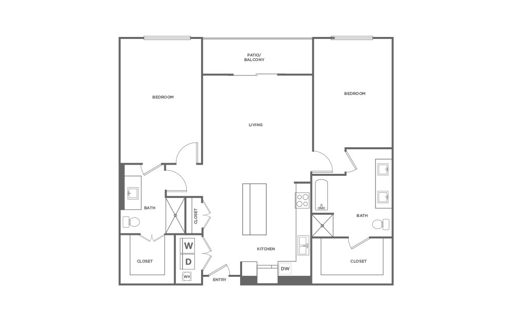 B4-HC - 2 bedroom floorplan layout with 2 baths and 1322 square feet. (2D)