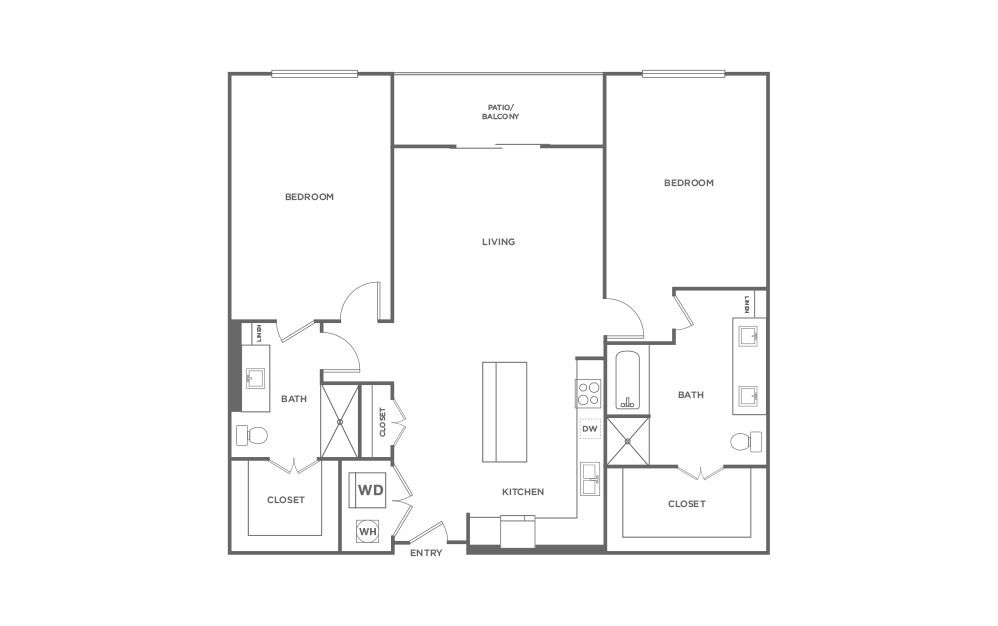 B4 - 2 bedroom floorplan layout with 2 baths and 1322 square feet. (2D)
