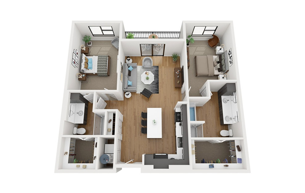 B4 - 2 bedroom floorplan layout with 2 baths and 1322 square feet. (3D)