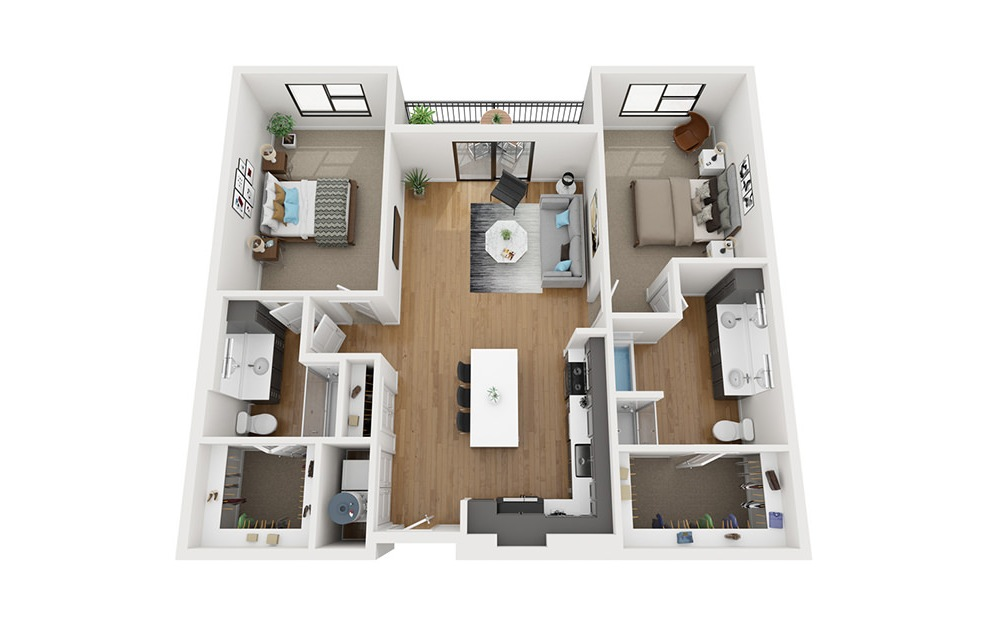B4-HC - 2 bedroom floorplan layout with 2 baths and 1322 square feet. (3D)