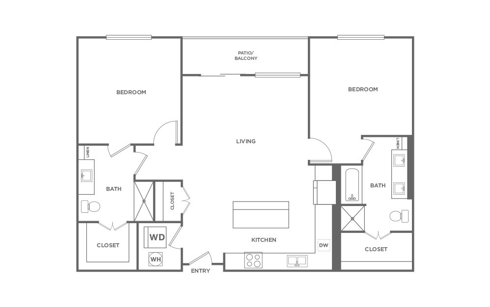 B5 - 2 bedroom floorplan layout with 2 baths and 1367 square feet. (2D)