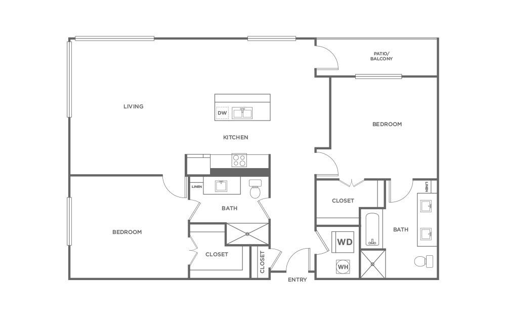 B6 - 2 bedroom floorplan layout with 2 baths and 1450 square feet. (2D)