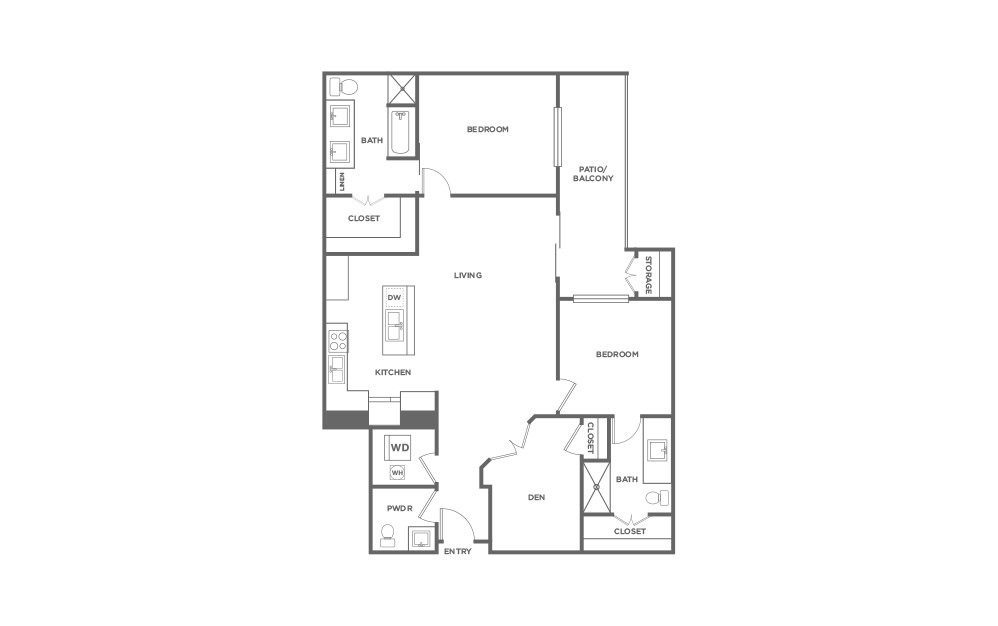 B7 - 2 bedroom floorplan layout with 2.5 baths and 1513 square feet. (2D)