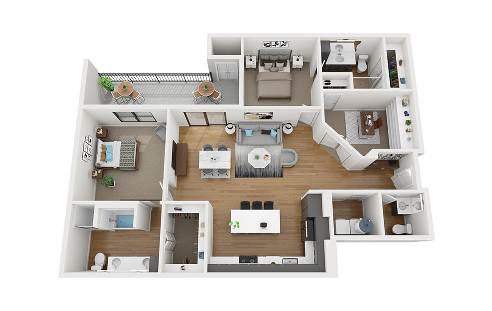 B7 - 2 bedroom floorplan layout with 2.5 baths and 1513 square feet. (3D)