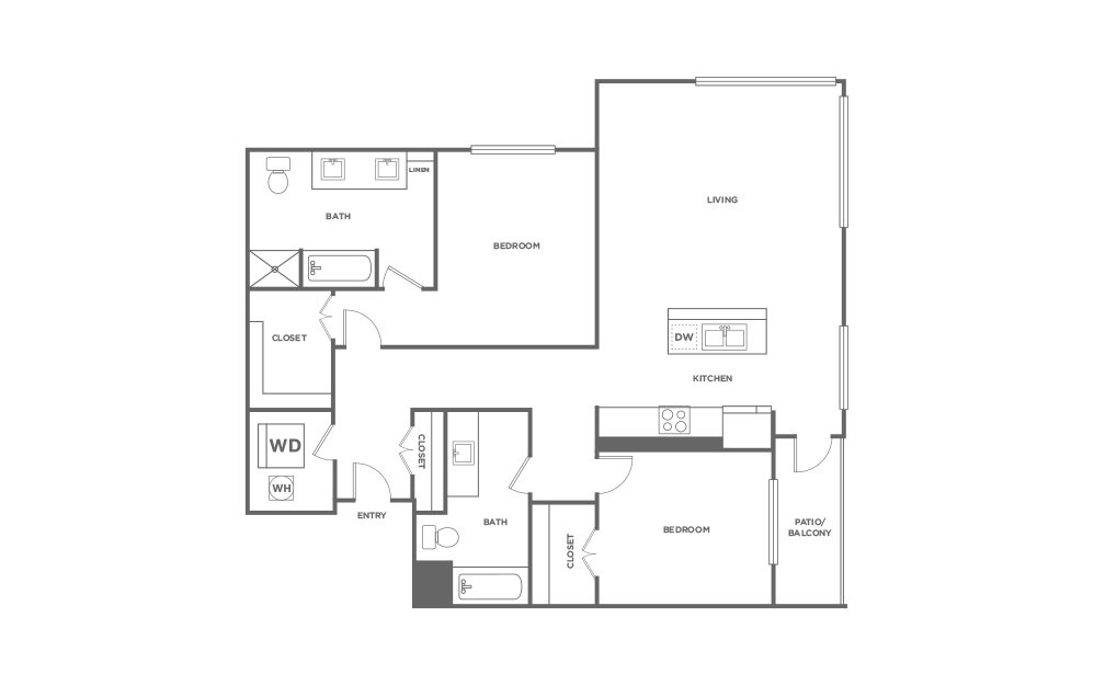 B8 - 2 bedroom floorplan layout with 2 baths and 1415 square feet. (2D)