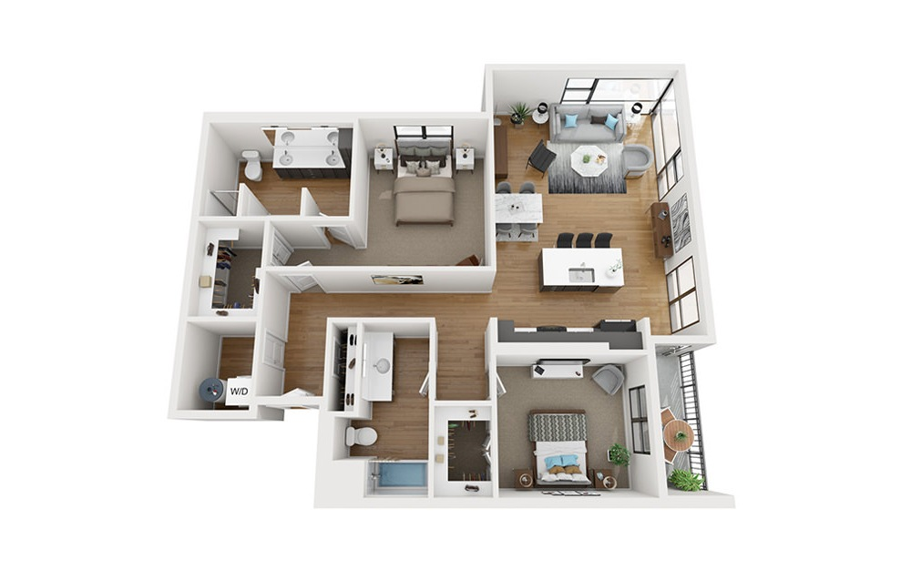 B8 - 2 bedroom floorplan layout with 2 baths and 1415 square feet. (3D)