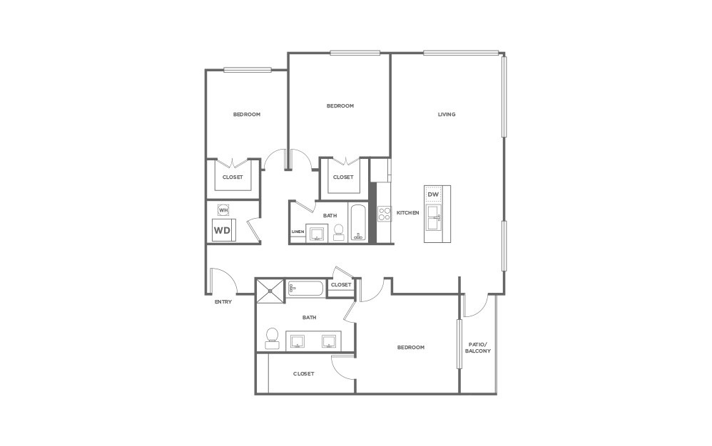 C1 - 3 bedroom floorplan layout with 2 baths and 1586 square feet. (2D)