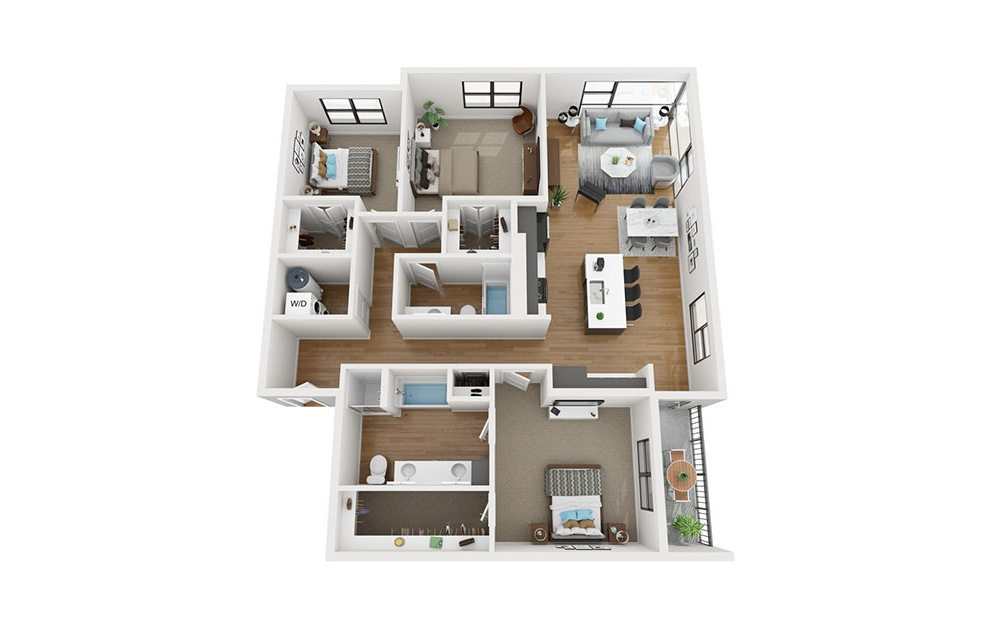 C1 - 3 bedroom floorplan layout with 2 baths and 1586 square feet. (3D)