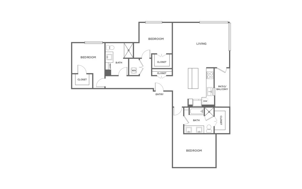 C2-HC - 3 bedroom floorplan layout with 2 baths and 1735 square feet. (2D)