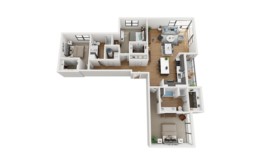 C2 - 3 bedroom floorplan layout with 2 baths and 1735 square feet. (3D)