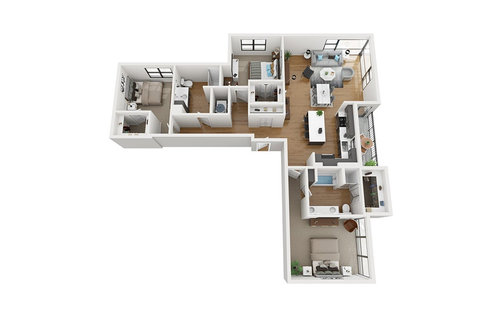 C2-HC - 3 bedroom floorplan layout with 2 baths and 1735 square feet. (3D)