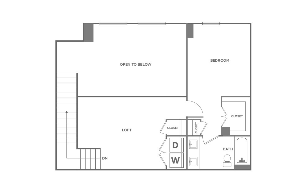 TH - 2 bedroom floorplan layout with 2.5 baths and 1577 square feet. (Second Level / 2D)