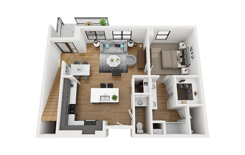 TH - 2 bedroom floorplan layout with 2.5 baths and 1577 square feet. (First Level / 3D)