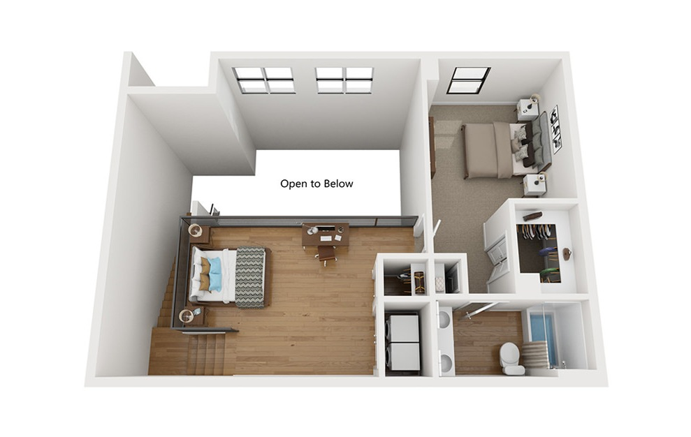 TH - 2 bedroom floorplan layout with 2.5 baths and 1577 square feet. (Second Level / 3D)