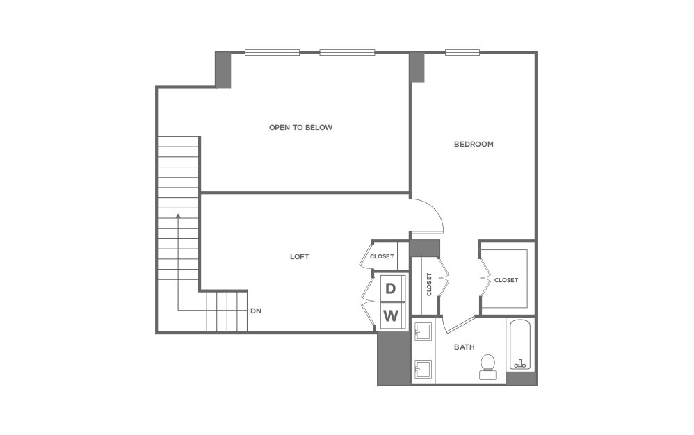 TH2 - 2 bedroom floorplan layout with 2.5 baths and 1715 square feet. (Second Level / 2D)