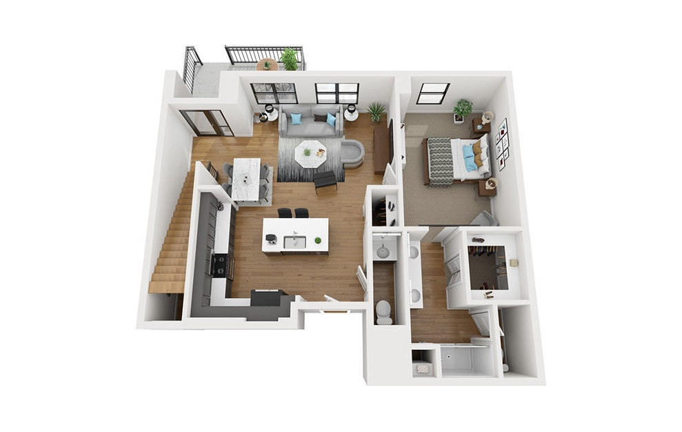 TH2 - 2 bedroom floorplan layout with 2.5 baths and 1715 square feet. (First Level / 3D)