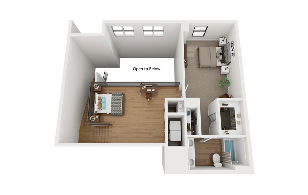 TH2 - 2 bedroom floorplan layout with 2.5 baths and 1715 square feet. (Second Level / 3D)