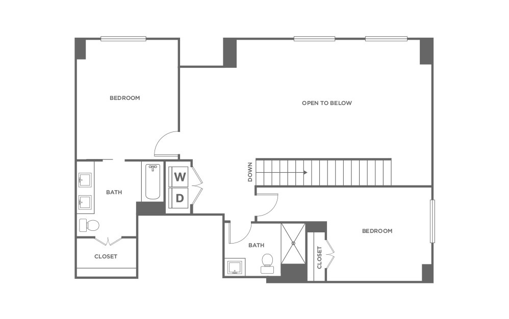 TH3 - 3 bedroom floorplan layout with 3.5 baths and 2080 square feet. (Second Level / 2D)