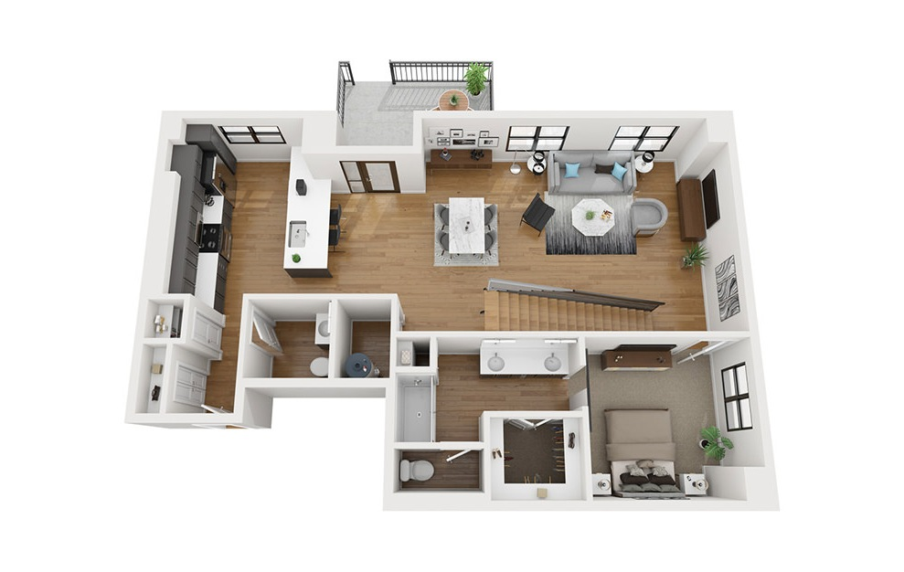 TH3 - 3 bedroom floorplan layout with 3.5 baths and 2080 square feet. (First Level / 3D)
