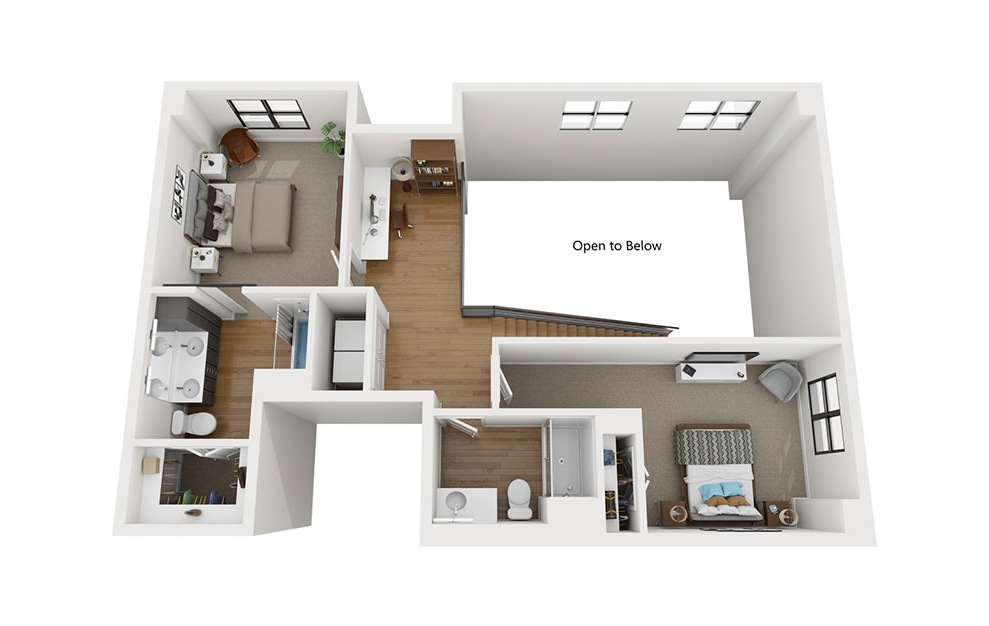 TH3 - 3 bedroom floorplan layout with 3.5 baths and 2080 square feet. (Second Level / 3D)