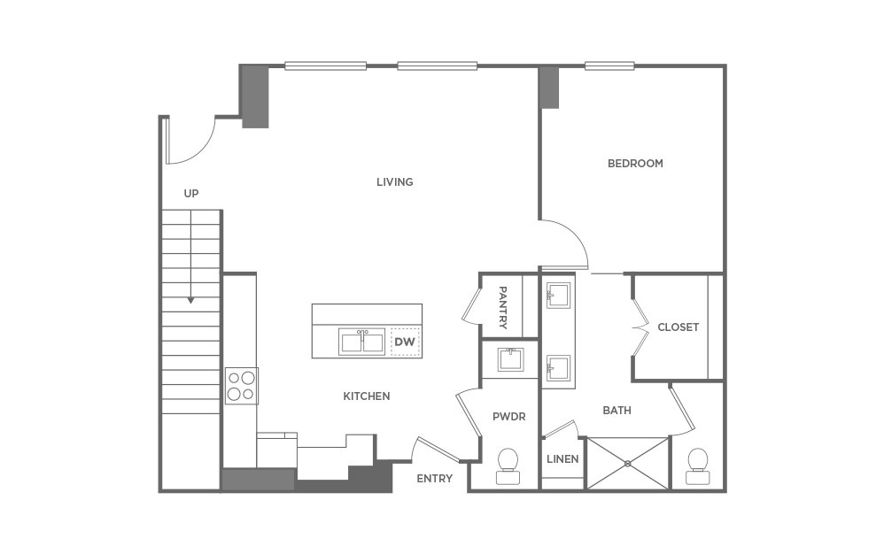 TH - 2 bedroom floorplan layout with 2.5 baths and 1577 square feet. (First Level / 2D)
