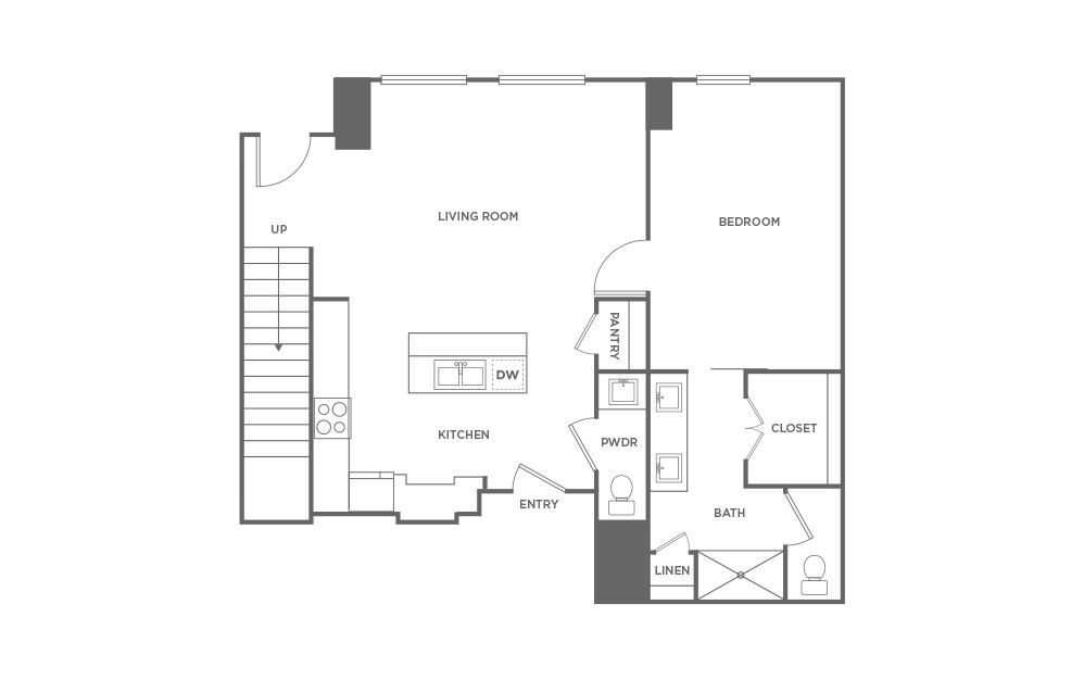 TH2 - 2 bedroom floorplan layout with 2.5 baths and 1715 square feet. (First Level / 2D)